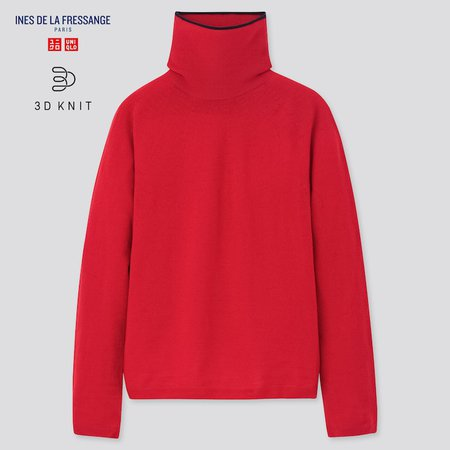 WOMEN 3D EXTRA FINE MERINO TURTLENECK SWEATER (INES DE LA FRESSANGE) | UNIQLO US red