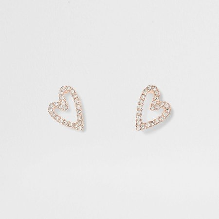 Gold tone crystal heart suds | River Island