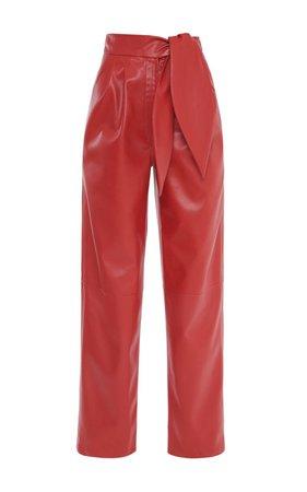 Santa Barbara Pleated Vegan Leather Straight-Leg Trousers by George Keburia | Moda Operandi
