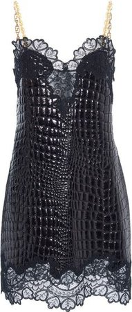 Versace Lace And Leather Mini Dress