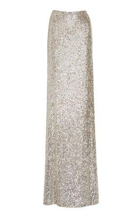 Monique Lhuillier Sequin-Charmeuse Skirt