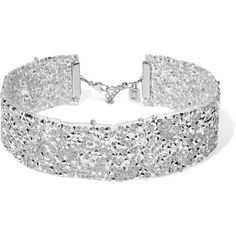 DANNIJO Oksana silicone, silver-tone and Swarovski crystal choker