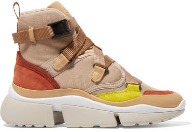 Sonnie Canvas, Mesh, Suede And Leather High-top Sneakers - Beige