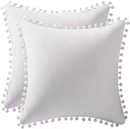 Amazon.com: DEZENE Decorative Pillow Cases 16x16 Off-White: 2 Pack Cozy Soft Pom-poms Velvet Square Throw Pillow Covers for Farmhouse Home Decor: Home & Kitchen