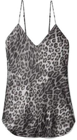 Isabella Leopard-print Silk-satin Camisole - Gray