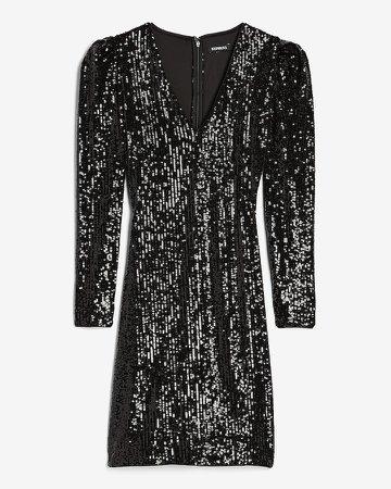 Sequin Puff Sleeve Sheath Dress