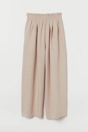 Wide-cut Linen-blend Pants - Beige