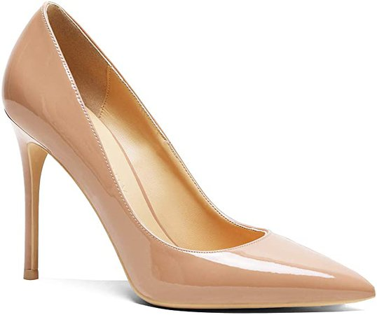 Amazon.com | LEHOOR Women's Classic Pointed Toe High Heel Pumps Sexy Stiletto 4Inch Suede Slip On Dress Shoes for Ladies Bridal Wedding Party Evening Brown 6 M US | Pumps