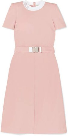 Intarsia-trimmed Belted Grain De Poudre Midi Dress - Pink