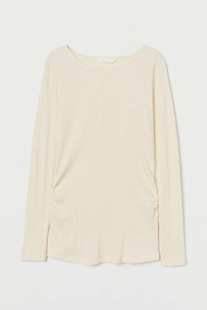 MAMA Ribbed Jersey Top - White