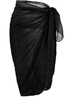 NORAME Women Chiffon 3/4 Sleeves Beach Dress Kimono Cardigan Swimsuit Cover Up (One size Fits US XS-L, Black) at Amazon Women's Clothing store: