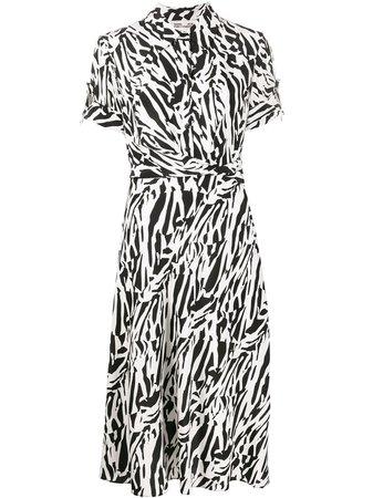 Shop white & black DVF Diane von Furstenberg short sleeve shirt dress with Express Delivery - Farfetch