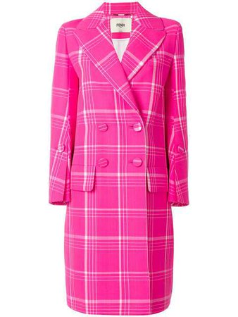 Fendi Double Breasted Check Coat - Farfetch