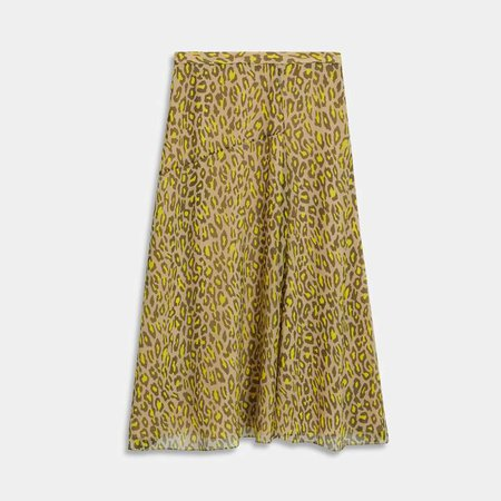 Asymmetric Midi Skirt in Leopard Silk Chiffon