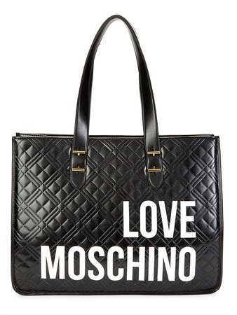 Love Moschino Textured Logo Tote on SALE | Saks OFF 5TH