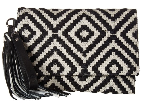 Rebecca Minkoff - Serra Fold-Over Clutch (Black/White) Clutch Handbags
