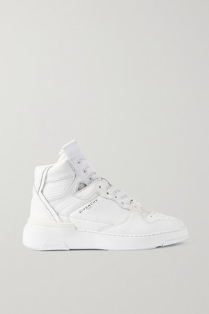 Wing Perforated Leather High-top Sneakers - White