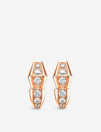 BVLGARI - Serpenti 18kt rose-gold and diamond earrings | Selfridges.com
