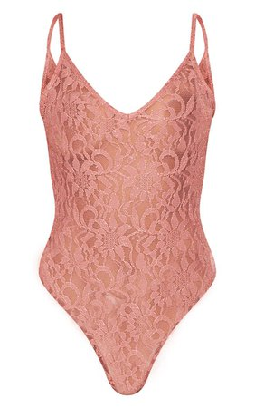 Pink Glitter Lace Bodysuit   Tops   PrettyLittleThing USA