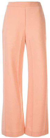 pintuck flared tailored trousers