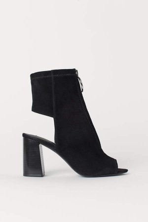 Open Suede Ankle Boots - Black