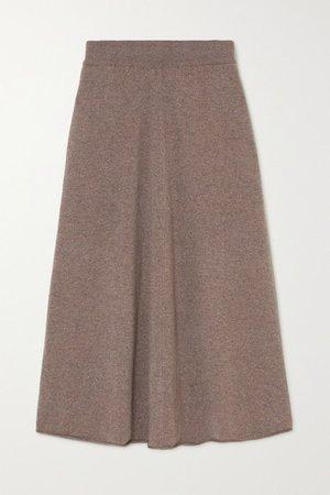 Cashmere-blend Midi Skirt - Brown
