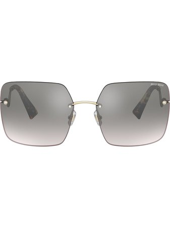 Shop gold Miu Miu Eyewear Scenique square-frame sunglasses with Express Delivery - Farfetch