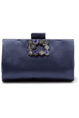 Roger Vivier | Crystal-embellished satin clutch | NET-A-PORTER.COM