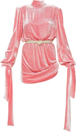 Mach & Mach Embellished Velvet Mini Dress