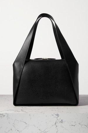 Perforated Vegetarian Leather Tote - Black