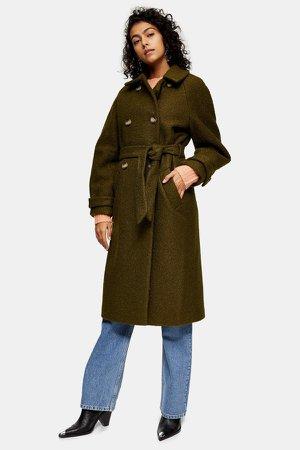 Khaki Boucle Trench Coat