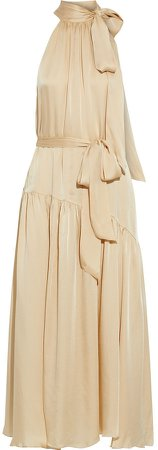 Belted Gathered Washed-silk Maxi Dress