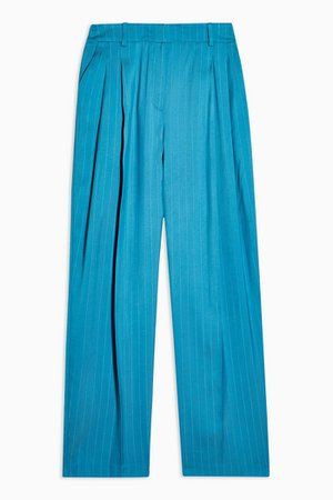 Blue Jacquard Striped Wide Leg Pants | Topshop