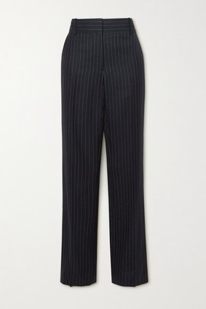 Pinstriped Wool-twill Straight-leg Pants - Navy