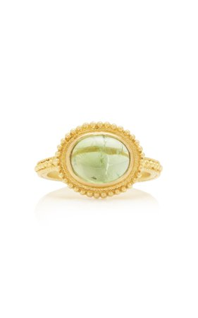 Ilias Lalaounis 18K Gold And Tourmaline Granulated Ring