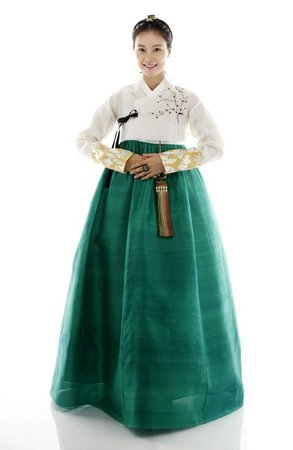 White and Green Hanbok 1