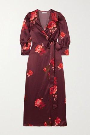 Merrick Floral-print Silk-satin Wrap Dress - Red
