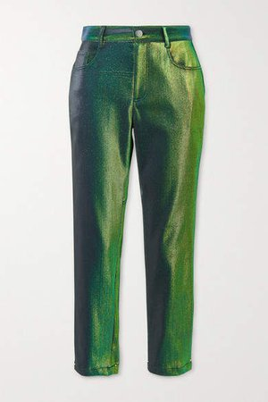 Lurex Straight-leg Pants - Green