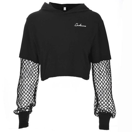 Weekeep Black Hooded t shirt women Patchwork Long Sleeve Mesh t shirt women's Printed t shirt Women's 2018 Streetwear Crop Top -in T-Shirts from Women's Clothing on Aliexpress.com | Alibaba Group