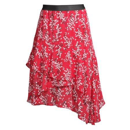 Scoop - Scoop Ruffle Tiered Skirt Women's - Walmart.com red