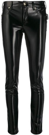skinny patent-leather trousers