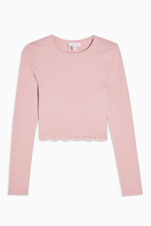 Pink Long Sleeve Lace Hem Top | Topshop