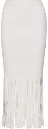 Fringed Stretch-knit Midi Skirt