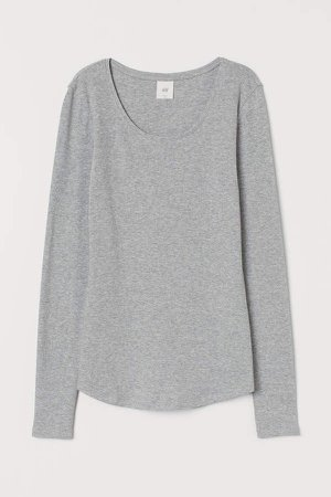 Long-sleeved Jersey Top - Gray