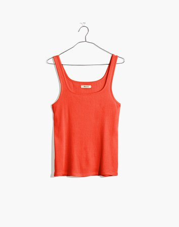 Ribbed Square-Neck Tank Top