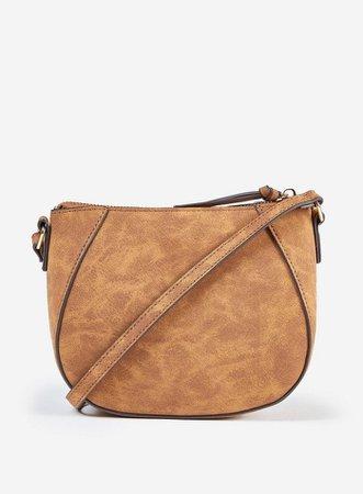 Tan Curved Cross Body Bag | Dorothy Perkins