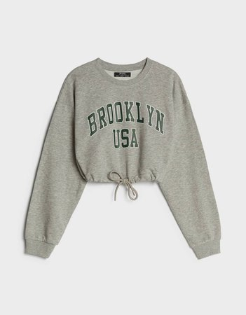 Drawstring sweatshirt with print - Sweatshirts and Hoodies - Woman | Bershka