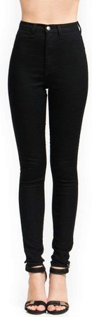 High-Waisted Skinny Jeans Black Size 11 at Amazon Women's Jeans store