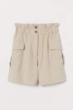 Paper-bag Shorts - Beige