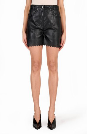 Maddox Scalloped High Waist Faux Leather Shorts